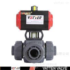VATTEN气动三通塑料阀流向 UPVC分流合流气动阀