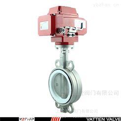 VATTEN电动钢衬胶蝶阀价格 进口电动对夹蝶阀厂家