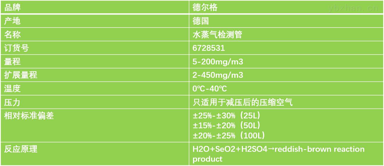 德尔格水蒸气检测管技术参数