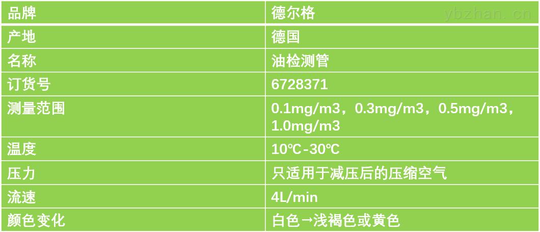 德尔格油检测管技术参数