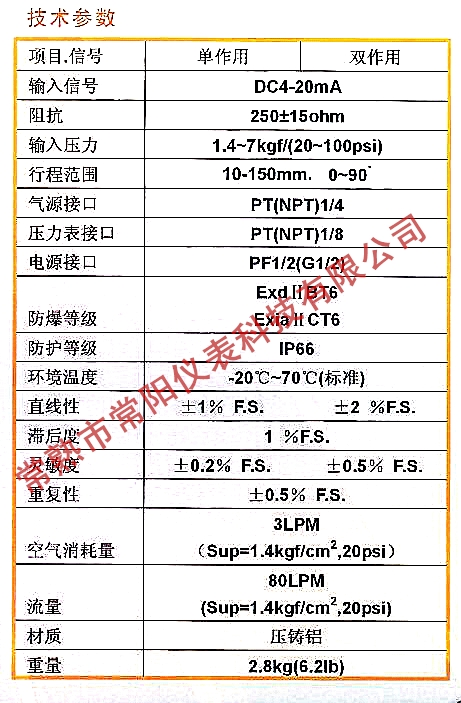 CY1000电气阀门定位器技术参数