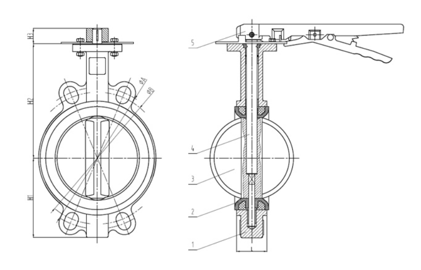D71X鋁手柄對夾蝶閥外形尺寸