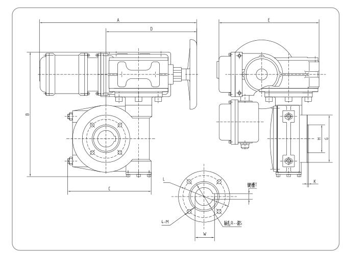 伯纳德电动执行器尺寸图
