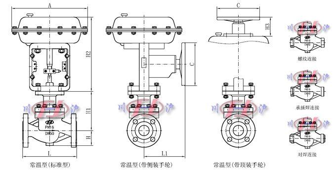 气动单座调节阀外形尺寸图