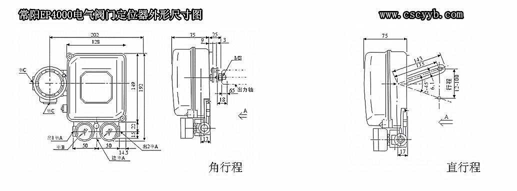 EP4000电气阀门定位器外形尺寸图